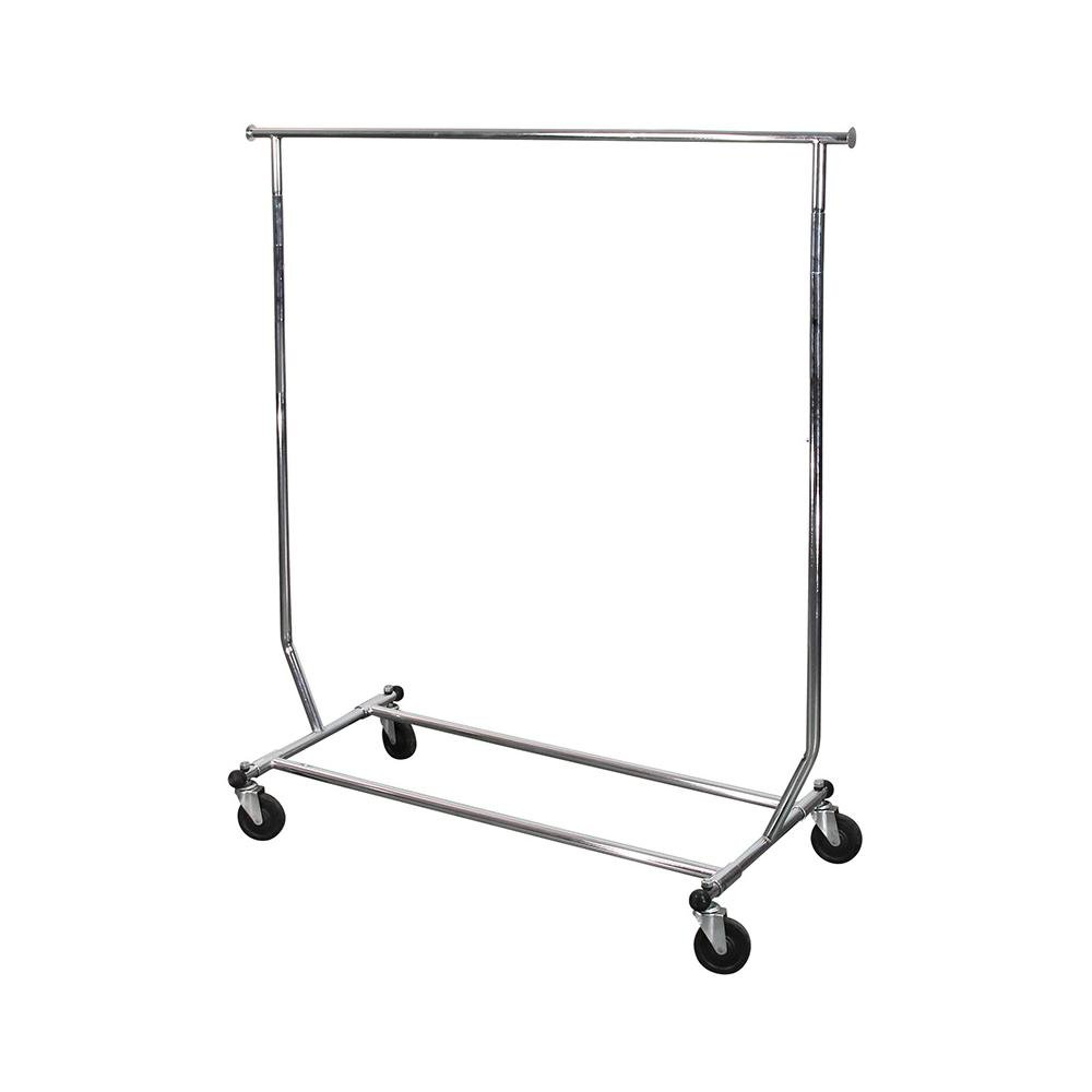 Single Metal cloth drying rack with movable wheels