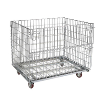 Large Metal Galvanized Supermarket Storage Mesh Roll Container