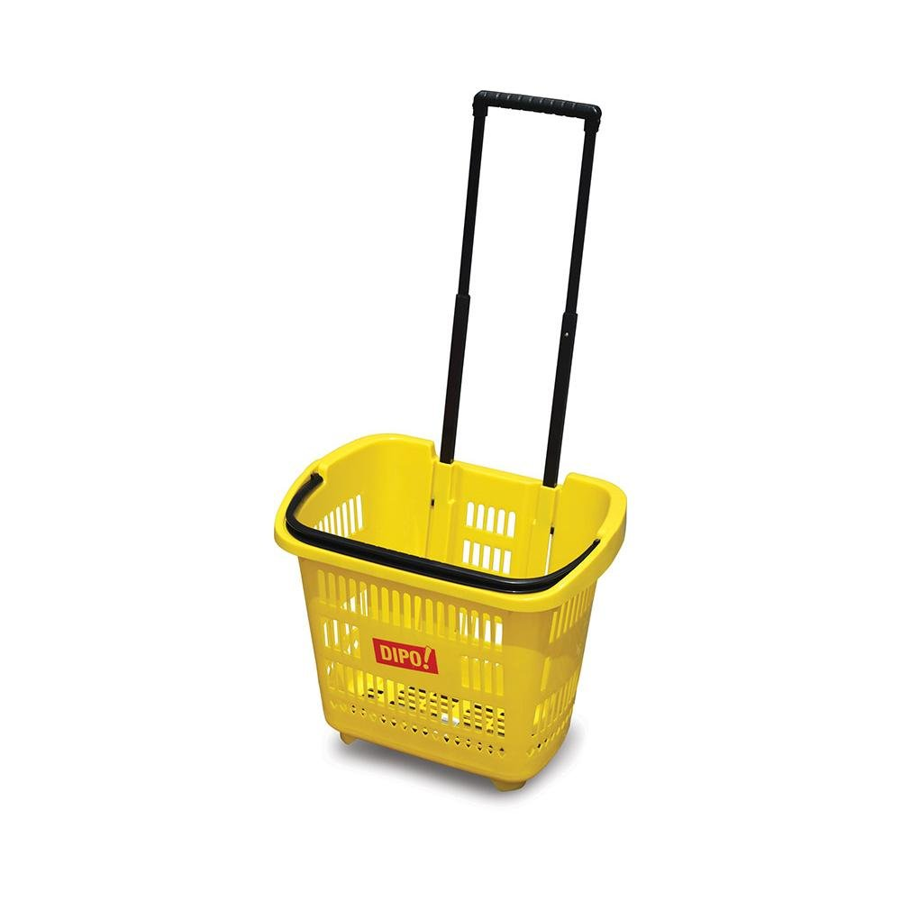 Telescopic Plastic Rolling Supermarket Shopping Basket for Sale
