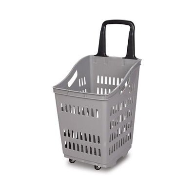 Supermarket Rolling Plastic Shopping Basket with Plastic Handle