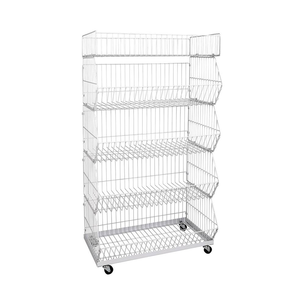 4 Wheels Solid Warehouse Folding Wire Mesh Roll Storage Container